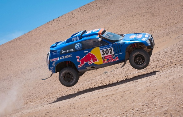 Picture Blue, Volkswagen, Speed, Race, Red Bull, Touareg, Rally, Dakar, Rally, Touareg, In The Air