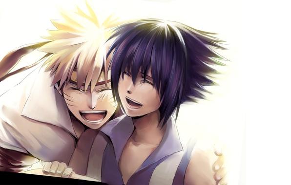 Picture positive, Anime, Naruto, Naruto, smile, Uchiha Sasuke, Uchiha Sasuke, Uzumaki Naruto, Uzumaki Naruto