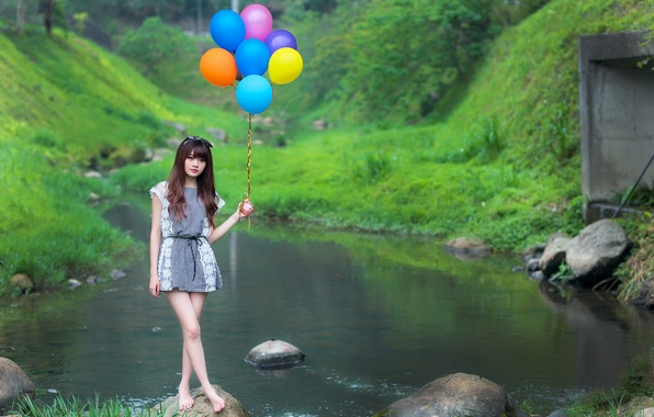 Picture look, girl, balls, nature, face, stream, dress