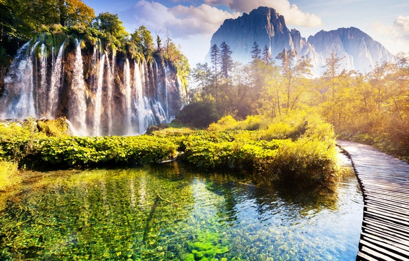 Picture landscape, waterfall, landscape, nature, lake