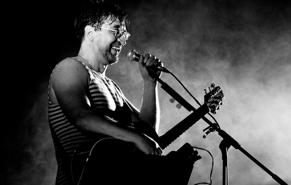 Picture guitar, Mike, glasses, grey background, rock, black and white photo, Yuri Shevchuk, the man and …