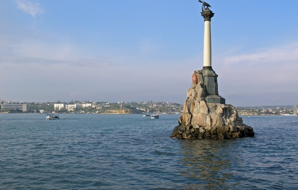 Picture water, the city, hero, Russia, Crimea, The black sea, Sevastopol, monument to the scuttled ships
