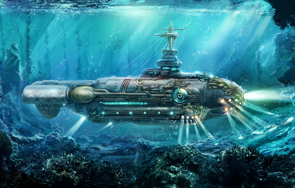 Picture oil, art, watercolor, pencil, Navy, painting, submarine, steampunk, gouache, submarine, wallpaper., nautilus, painting painting, world ...