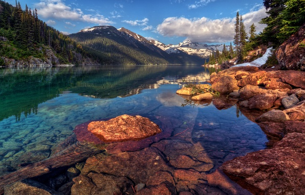 Picture forest, the sky, water, clouds, snow, trees, landscape, mountains, lake, reflection, stones, rocks, tree, slope, …