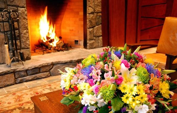 Picture macro, flowers, design, interior, bouquet, fireplace
