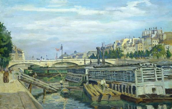 Picture landscape, bridge, river, Paris, home, picture, city, Arman Hyomin, The Bridge of Louis Philippe