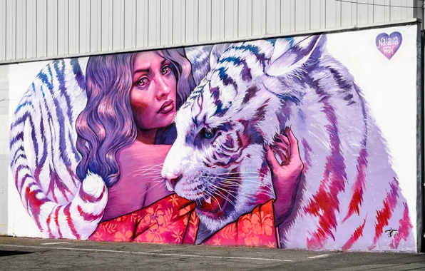 Picture girl, face, tiger, wall, paint, graffiti