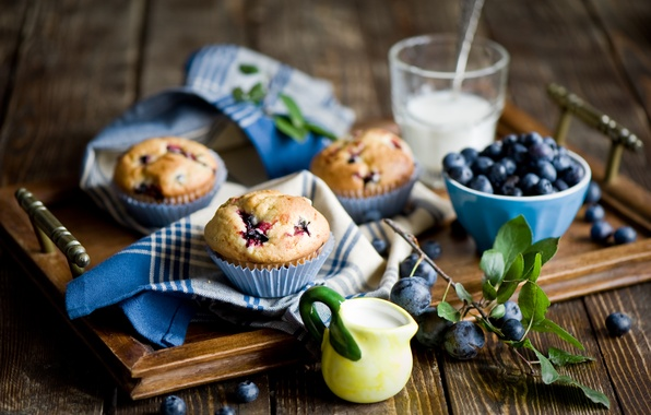 Picture berries, food, blueberries, dishes, still life, tray, cupcakes, swipe
