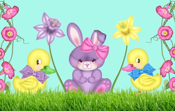 Picture figure, flowers, Bunny, ducklings, bow, Narcissus, children's, bindweed, for small