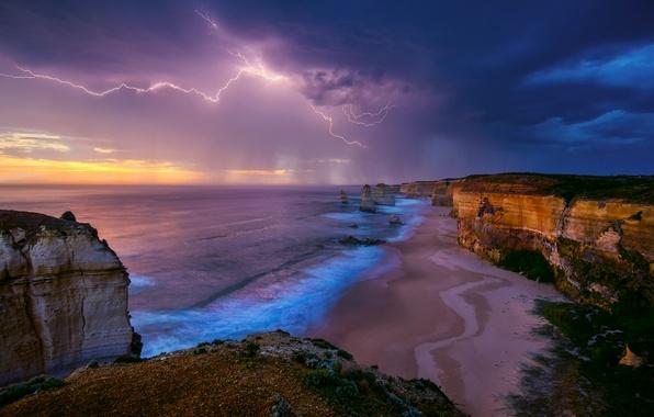 Picture sea, the storm, the sky, storm, rocks, shore, lightning, Australia