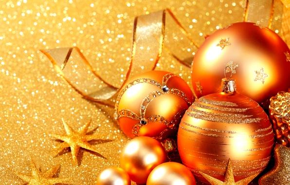 Picture glare, holiday, balls, toys, New year, stars, shiny, ribbon, Golden, glitter