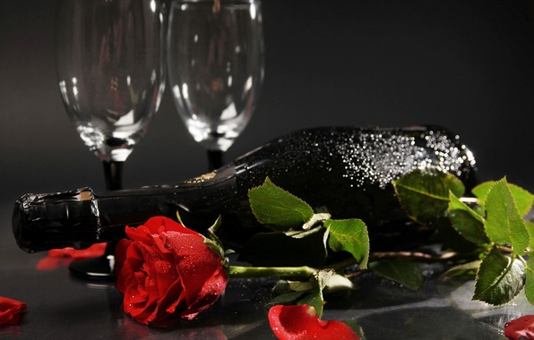 Picture flower, flowers, holiday, wine, rose, bottle, roses, petals, Bud, glasses, champagne, red