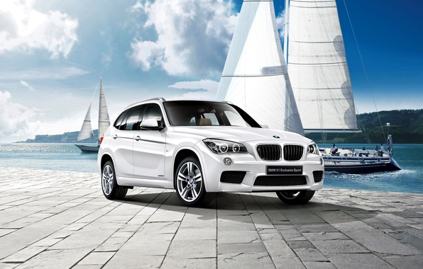 Picture the sky, clouds, shore, BMW, yachts, BMW, pier, pierce, 2012, promenade, crossover, E84