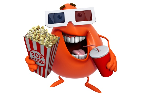 Picture monster, cinema, monster, smile, cartoon, character, movie, funny, cute, pop corn