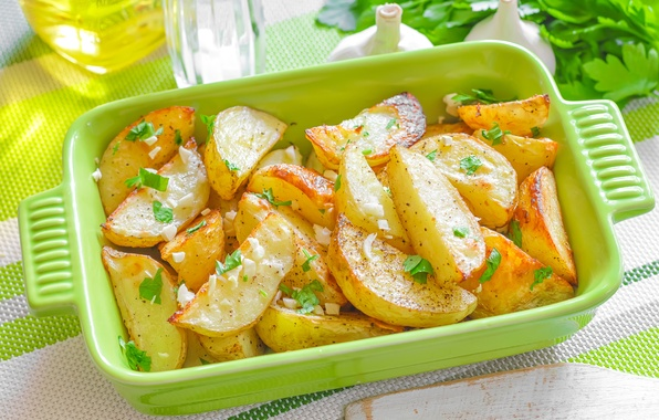 Picture food, dishes, parsley, garlic, potatoes, potatoes, baked