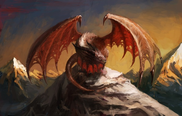 Picture the sky, look, mountains, red, fiction, dragon, wings, art, mouth, tail, claws, horns