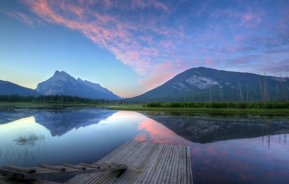 Picture the sky, water, mountains, lake, reflection, the bridge