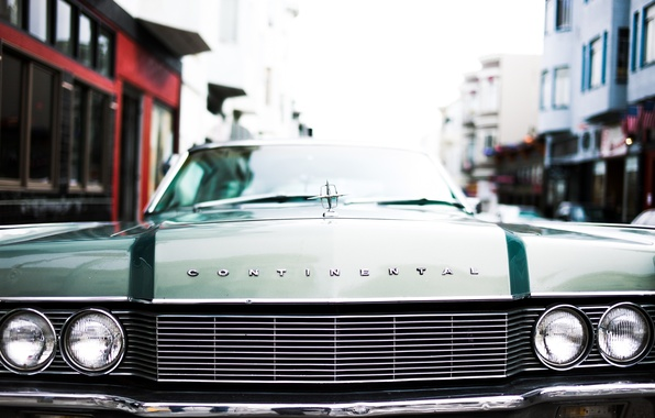 Picture lights, the hood, grille, emblem, lincoln continental 1968