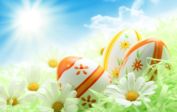 Picture greens, the sky, the sun, holiday, blue, chamomile, eggs, Easter