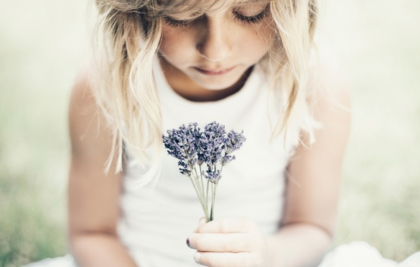Picture look, flowers, girl, a bunch