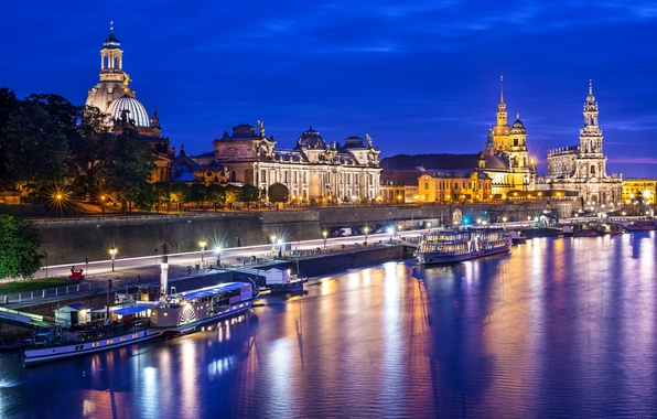 Picture water, light, night, the city, lights, reflection, river, building, Marina, boats, Germany, Dresden, Elba, architecture, …