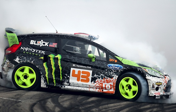 Picture Ford, Drift, Monster Energy, Smoke, Ken Block, Tuning, Fiesta, Sportcar, Gymkhana
