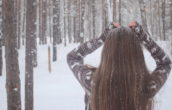 Picture winter, girl, snow, trees