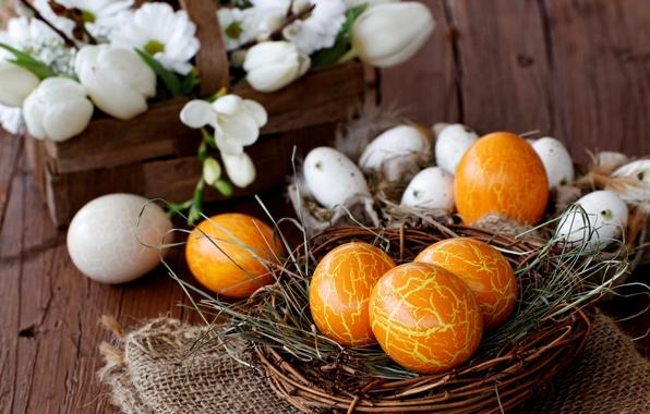 Picture flowers, holiday, basket, eggs, spring, Easter, socket, crocuses, white, Easter, Easter