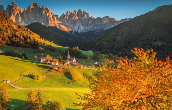 Picture autumn, forest, trees, sunset, mountains, home, Italy, Church, The Dolomites