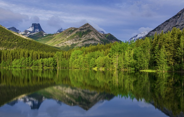 Picture the sky, clouds, trees, mountains, lake, reflection, Canada, Albert, Calgary, National Park
