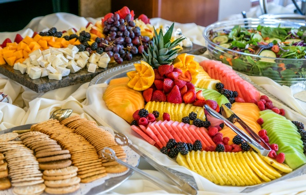 Picture berries, raspberry, watermelon, cheese, kiwi, strawberry, grapes, fruit, mango, pineapple, BlackBerry, salad, cuts, biscuits