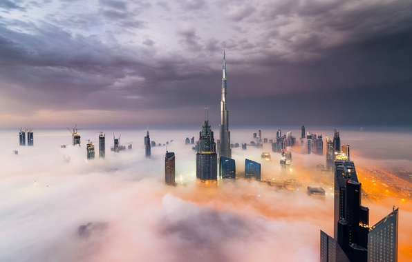 Picture Clouds, Dubai, Smoke, Burj Khalifa, Skyscraper, Foggy