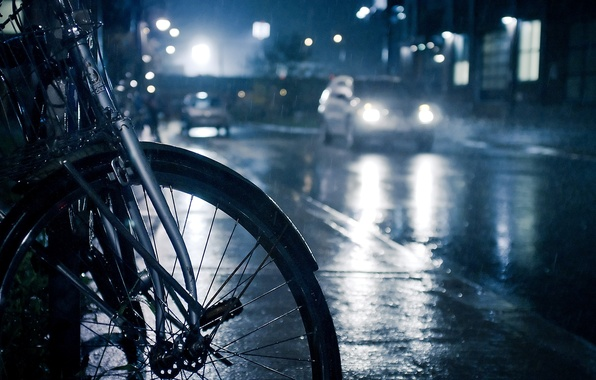 Picture road, drops, machine, night, bike, lights, photo, rain, Wallpaper, puddles, the sidewalk, the shower, different