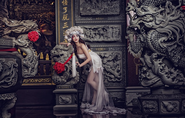 Picture pose, style, model, dress, outfit, Asian, sculpture