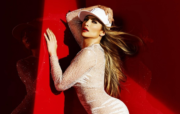 Picture red, pose, reflection, shadow, dress, actress, lighting, singer, cap, Jennifer Lopez, mesh, celebrity, in white, …