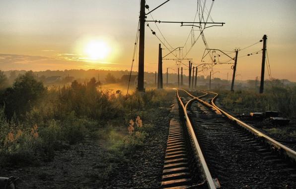 Picture The sun, Home, Fog, Wire, Railroad, The way