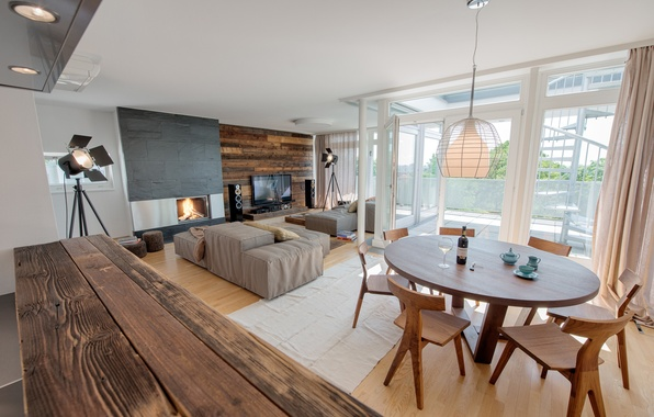 Picture light, table, fire, furniture, chairs, interior, TV, fireplace, cinema, sofas, home