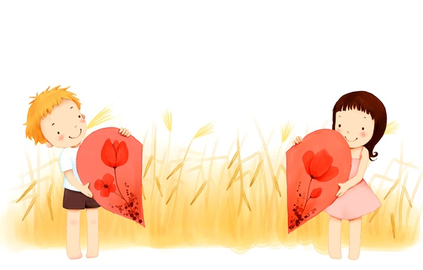Lovely Cartoon Couple Android Wallpapers 960x800 Hd: Wallpaper Love, Flowers, Boy, Spikelets, Girl, Heart