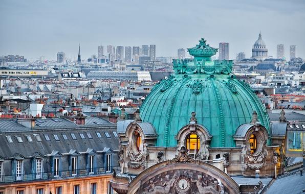 Picture France, Paris, building, home, roof, Paris, architecture, the dome, Palace, France, Ile-de-France, Grand Opera, Opera …
