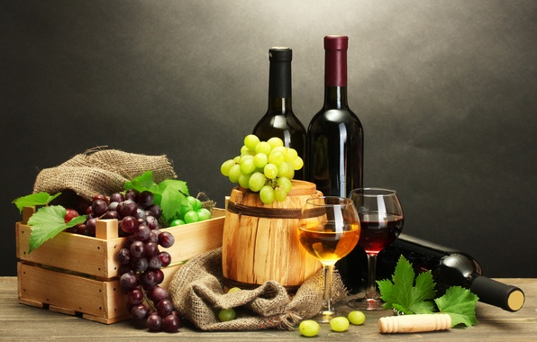 Picture leaves, table, wine, red, white, grapes, bottle, box, corkscrew, barrel