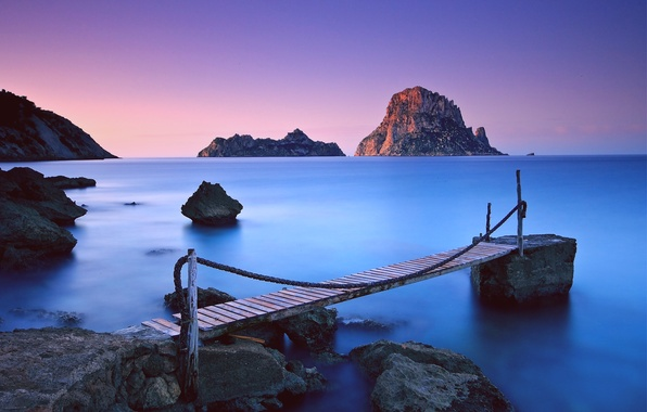 Picture sea, the sky, sunset, mountains, blue, stones, the ocean, rocks, pink, shore, The evening, calm, …