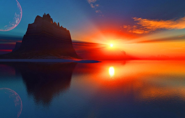 Picture sea, the sky, the sun, space, clouds, rays, sunset, rock, lake, planet, mountain