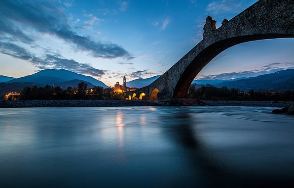 Picture bridge, river, the evening, Italy, the city. chapel