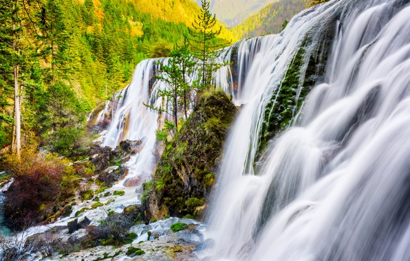 Picture autumn, forest, trees, mountains, stones, rocks, waterfall, China, Sunny, Pearl Shoal Waterfall, Sichuan Province