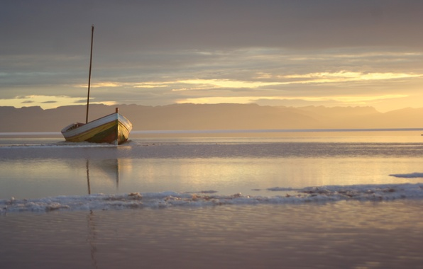 Picture sea, water, boat, Sunset
