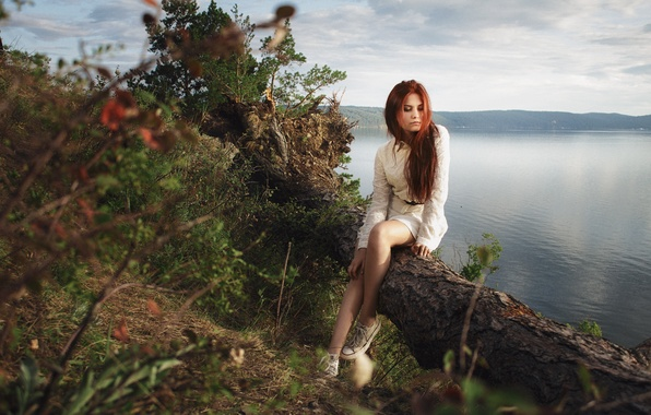 Picture summer, grass, girl, trees, mountains, reverie, nature, lake, open, mood, patterns, sweetheart, clothing, sneakers, portrait, …