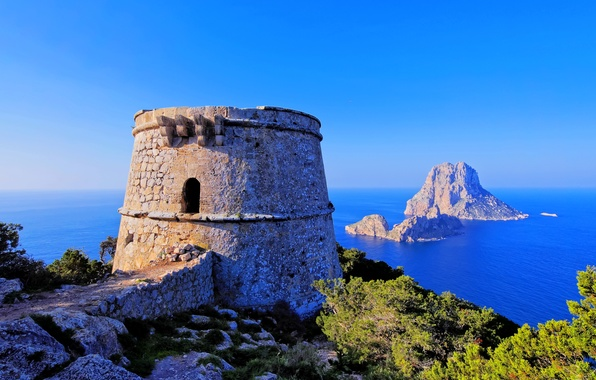 Picture sea, the sky, Islands, rock, stones, blue, tower, horizon, fortress, Spain, the bushes, Spain, Ibiza, …