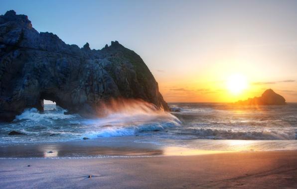 Picture sand, sea, wave, beach, the sky, sunset, rocks