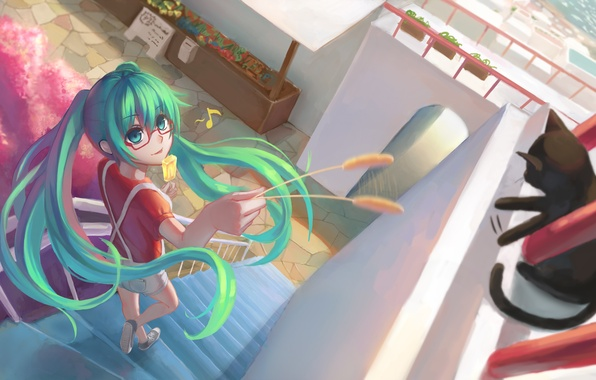 Picture cat, girl, anime, art, glasses, ice cream, note, vocaloid, hatsune miku