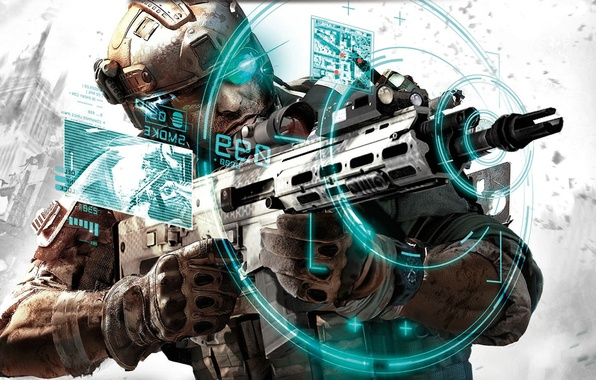 Picture the city, weapons, interface, soldiers, machine, sight, Future Soldier, Ghost Recon